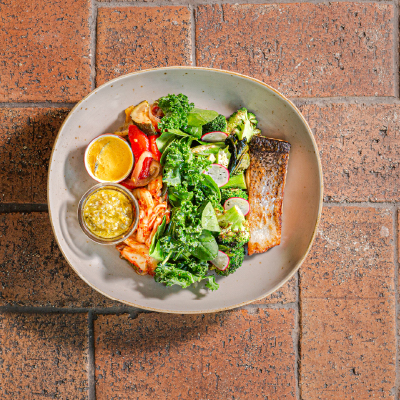 hearty and healthy meal with donburi salmon and vegetables